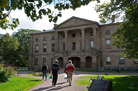 tourists approaching Province House in Charlottetown