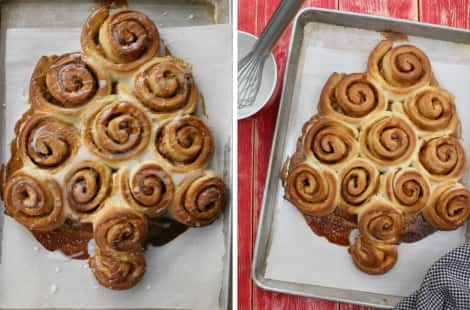 The final product: a cinnamon bun Christmas tree drizzled with icing on a backing tray; the cinnamon bus Christmas tree just before drizzling with a whisk and bowl of icing in the corner