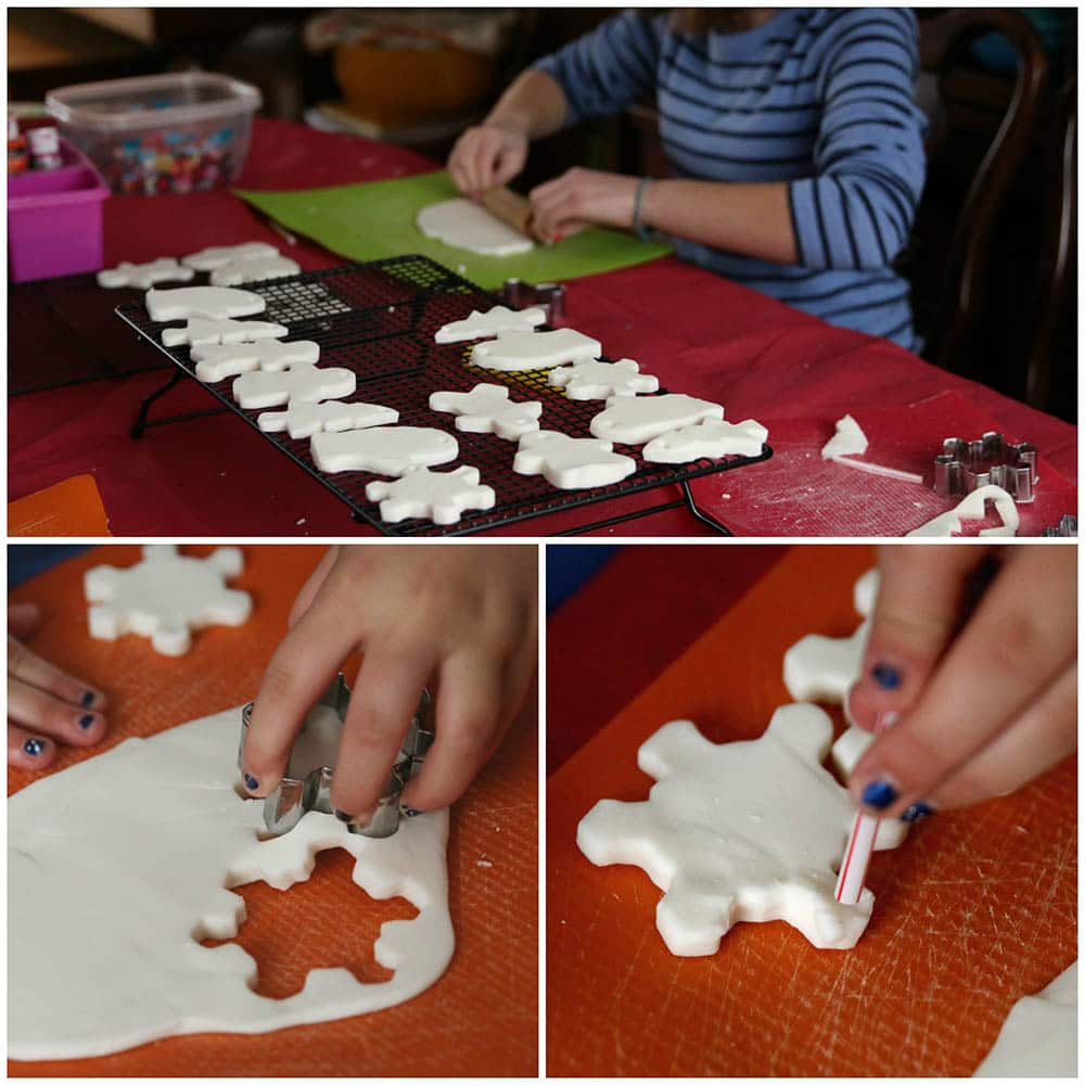 Rolling, cutting and poking holes in the clay dough ornaments
