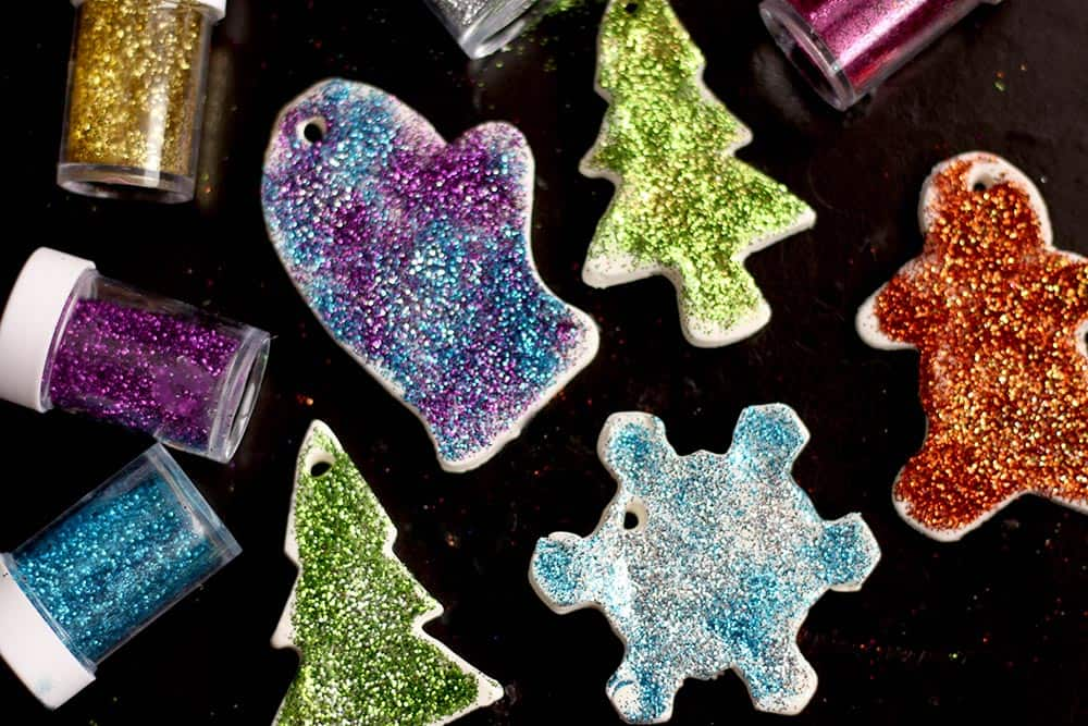 An assortment of colourful and glittery clay dough ornaments