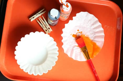 What you'll need to make coffee filter monarch butterflies