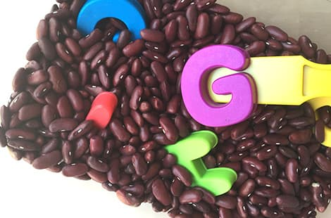 A magnetic wand uncovers alphabet magnets hidden in a container full of beans.