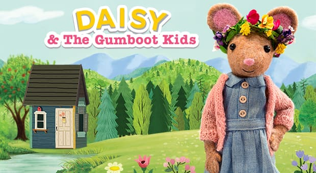 Daisy, an adorable felted stop-motion mouse, from Daisy and the Gumboot Kids