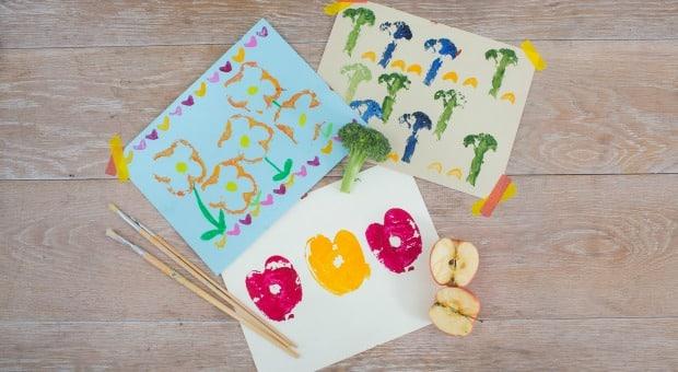 Daisy's fruit and veggie stamp art
