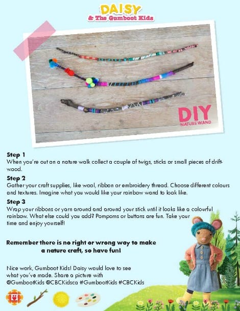 Printable for Daisy's rainbow nature wands craft