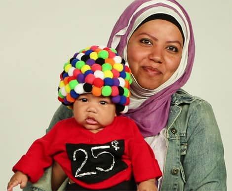 picture of child with mom wearing gumball costume