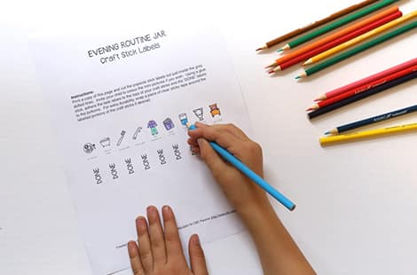 Child colours in the printable.