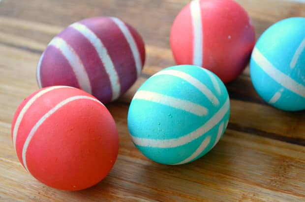 Easter eggs dyed with rubber bands.