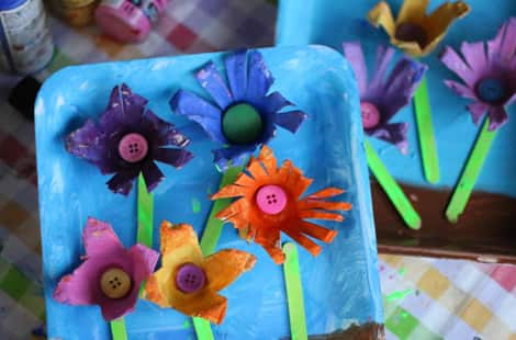 Completed egg carton spring flowers