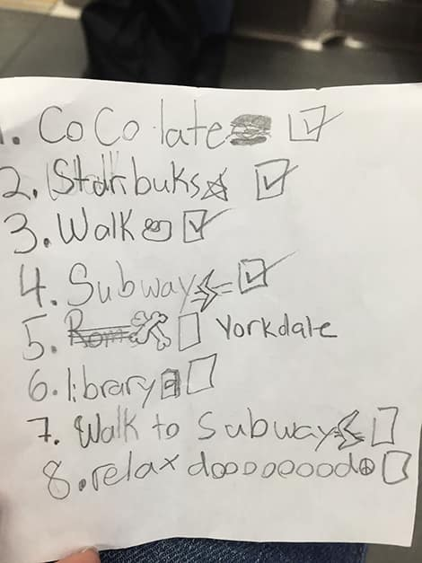 pencil written checklist of things to do and places to visit