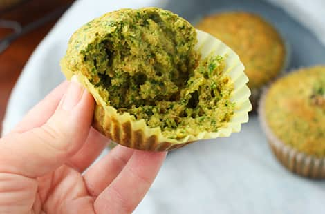 Inside look of green muffin.