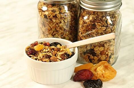 Granola-filled mason jars