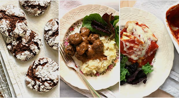 "Triptic of chocolate crackle cookies, Swedish meatballs and Ravioli ""Lasagna"""