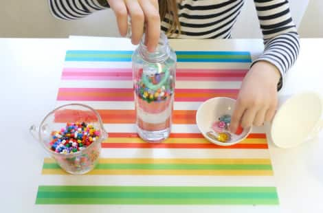 Placing objects in the I Spy bottle