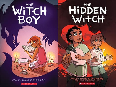 Book covers: The Witch Boy and The Hidden Witch