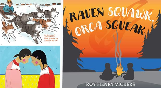Triptych featuring books by Indigenous authors