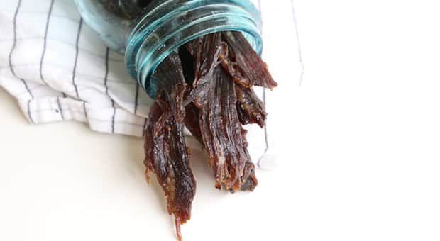 A jar of beef jerky, ready to give to dad for Father's Day.