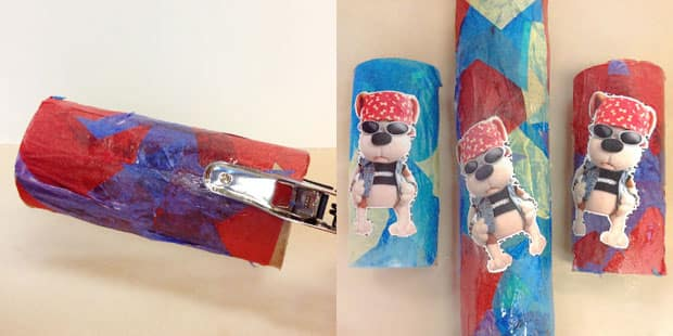 Cardboard tubes covered with tissue paper and a Bookaboo picture.
