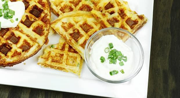 Leftover cheesy mashed potato waffle on a plate
