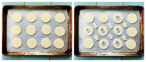 The baking tray first with the dough cut into circles, then with half with windows cut into them in different shapes