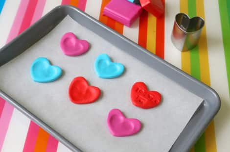 Hearts on a baking tray to be dried