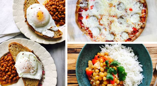 A collage of three images: poached eggs on toast, chickpea curry stew with rice and a tortilla pizza.