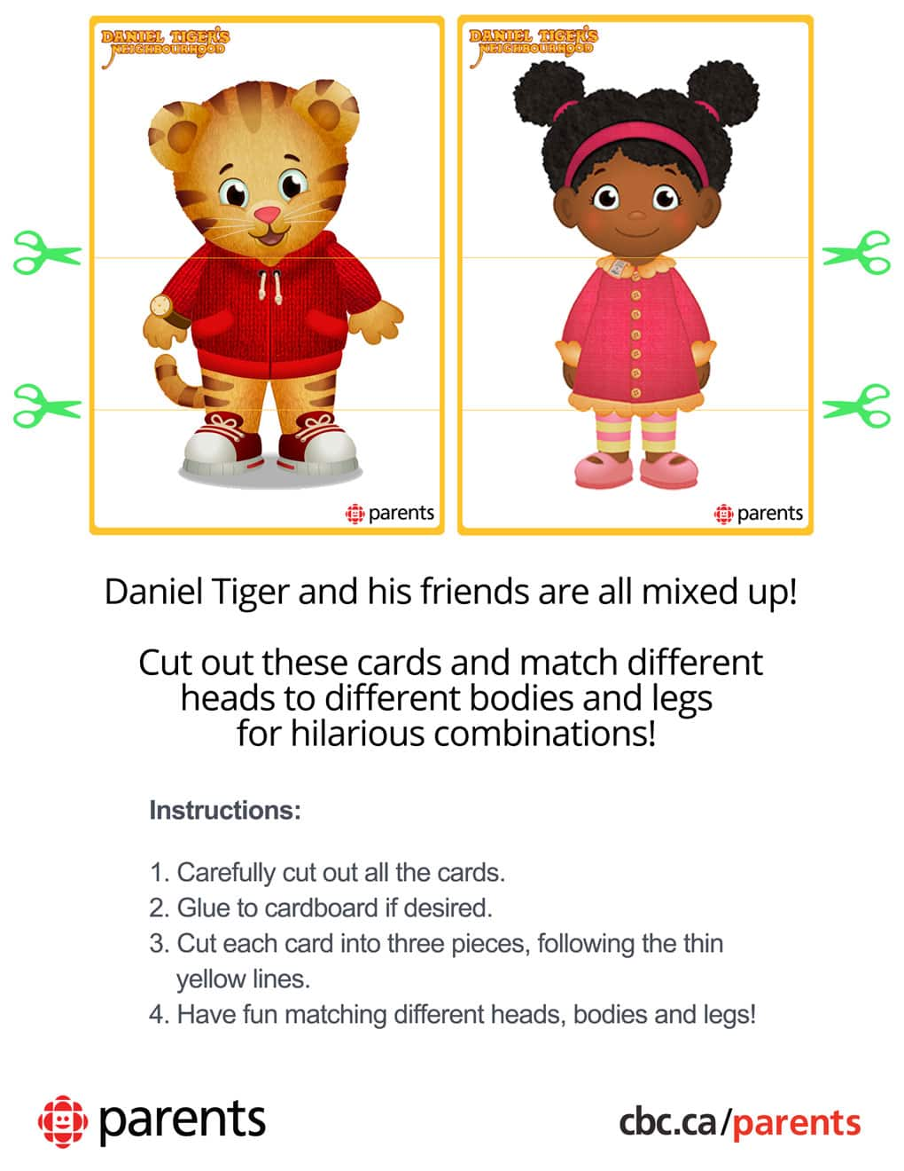 daniel tiger mix and match printable play cards play cbc parents