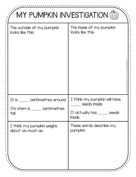 The 'My Pumpkin Investigation' sheet with areas to draw the pumpkin and record observations