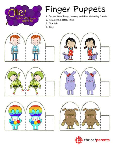 Printable Ollie Finger Puppets