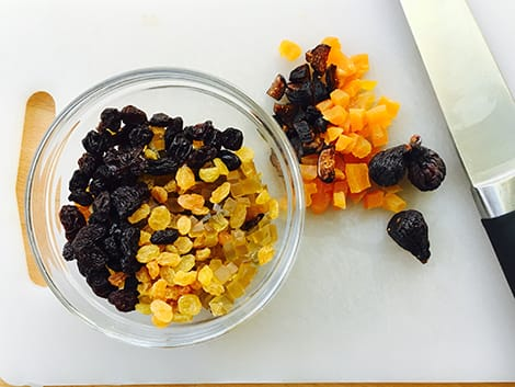 dried fruit cut up in a bowl