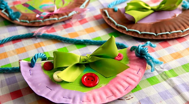 Colourful paper plate purse