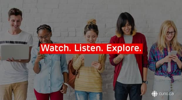 Young adults on devices with the words watch, listen and explore overlaid on top.