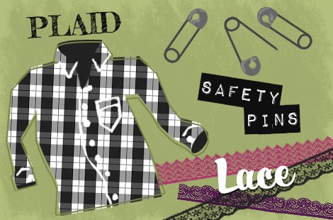 Illustration of a plaid shirt, safety pins and lace.