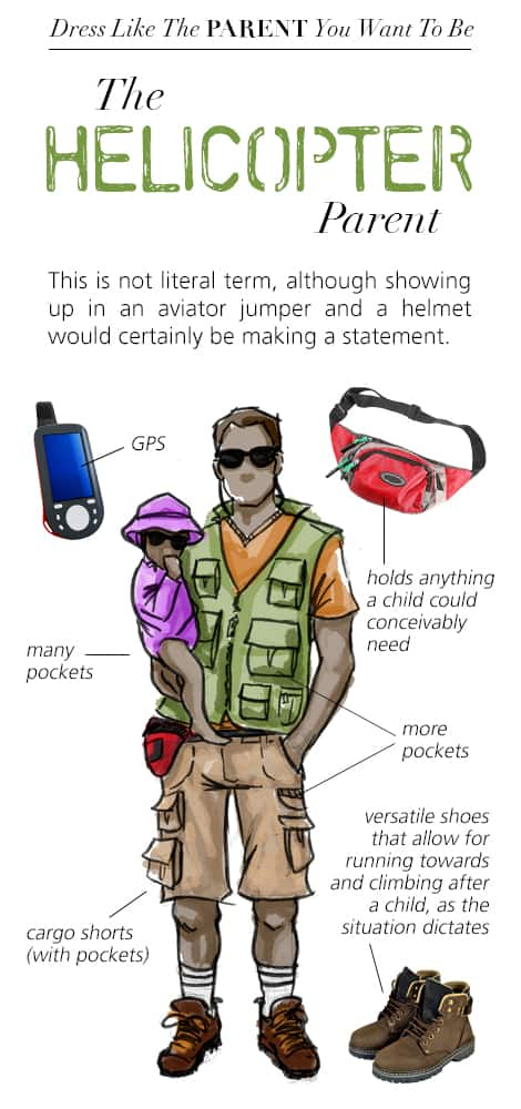 Dress Like the Parent You Want to Be: The Helicopter Parent. Illustrated to look like a page in a fashion magazine.