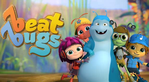 Lead characters from animated show Beat Bugs.