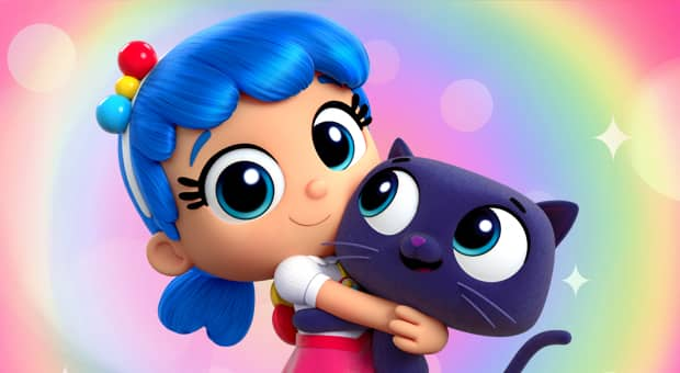 A image of the titular character of the show, True, and her BFF, Bartleby the cat.