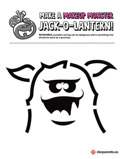 Makeup Monster jack-o-lantern template