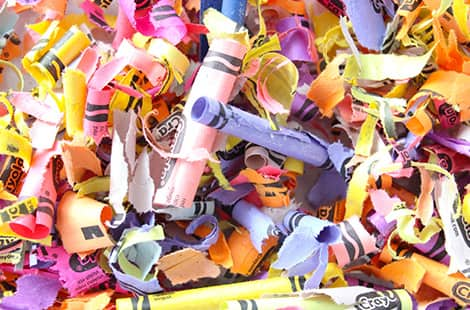 Paper shaving bits from peeled crayons.