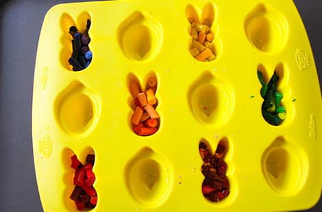 Crayons are placed into Peep Bunny Mold.