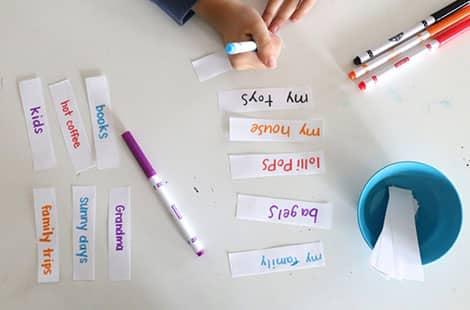 Ideas written on strips of paper.