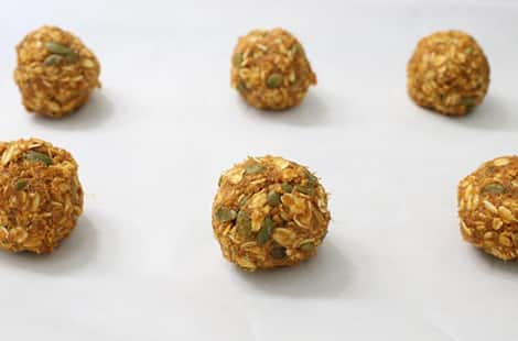 Pumpkin spice cookie dough rolled up into balls.