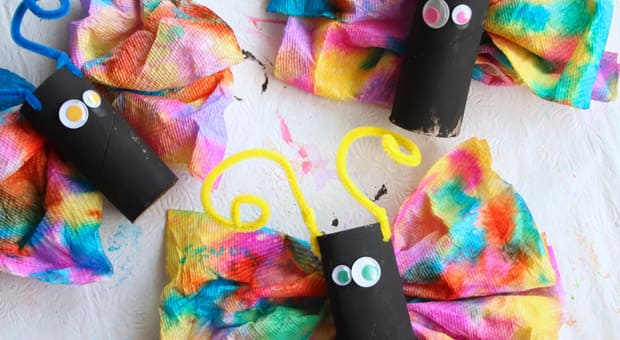 Colourful paper towel butterflies
