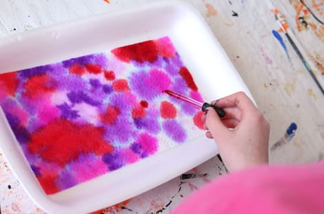 Dropping watercolours onto paper towel
