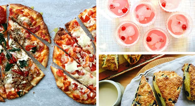 Triptic featuring homemade pizza, cheeseboard and fruit punch.