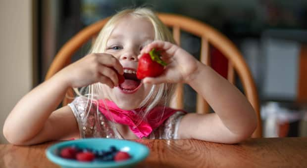 Little girl happily eating a strawberry