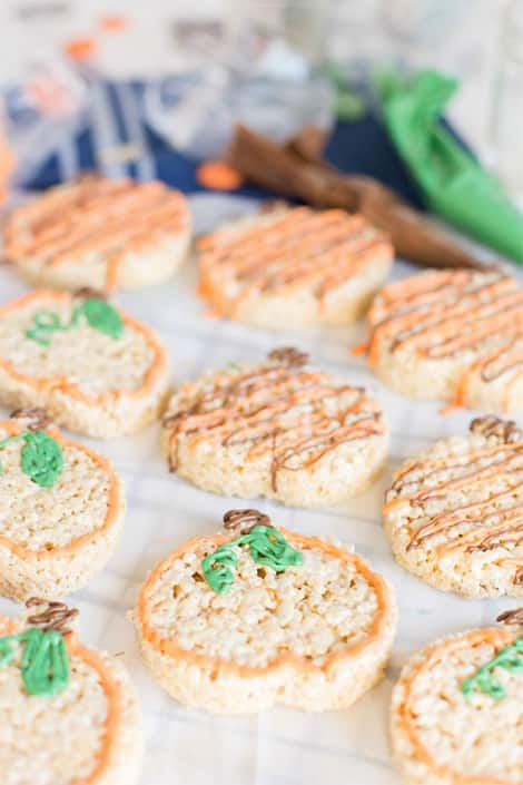 Decorated crispy rice cookies ready to be eaten!
