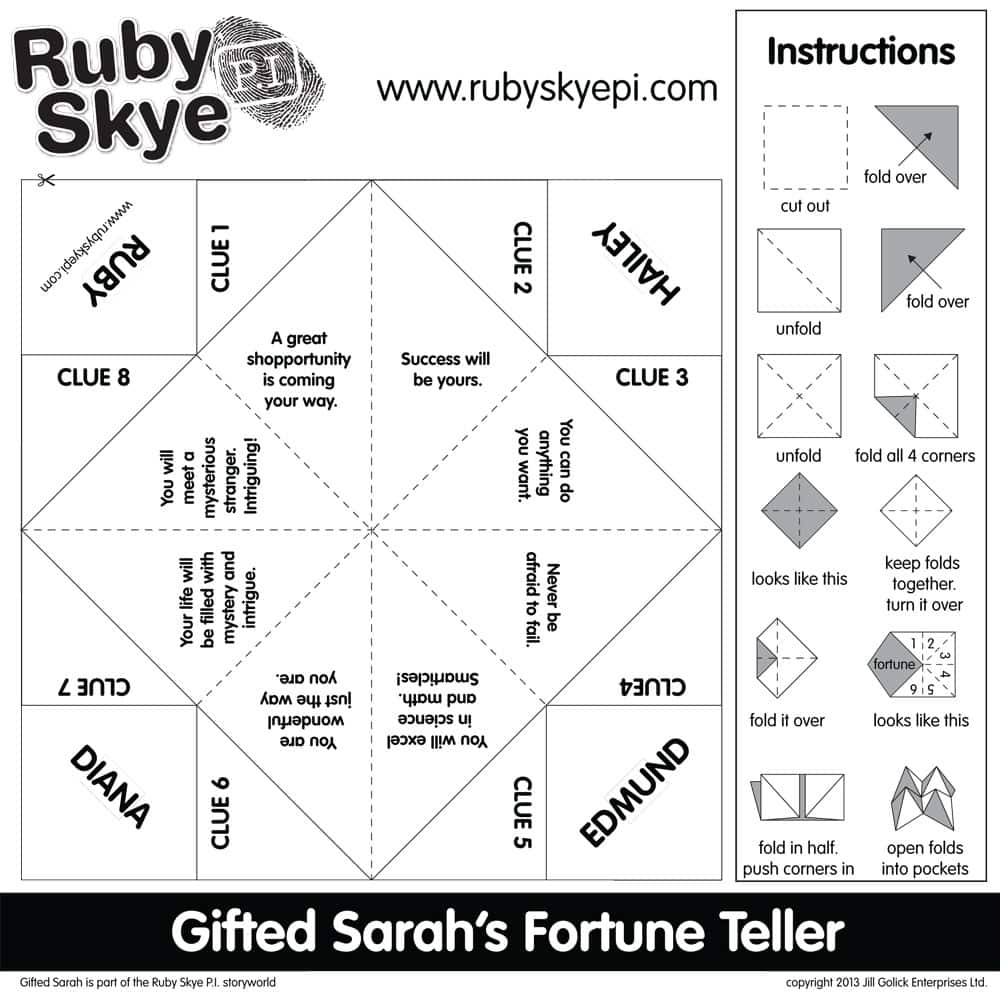 picture regarding Printable Cootie Catcher Template titled Ruby Skye P.I. Cootie Catcher Printables Participate in CBC Mother and father