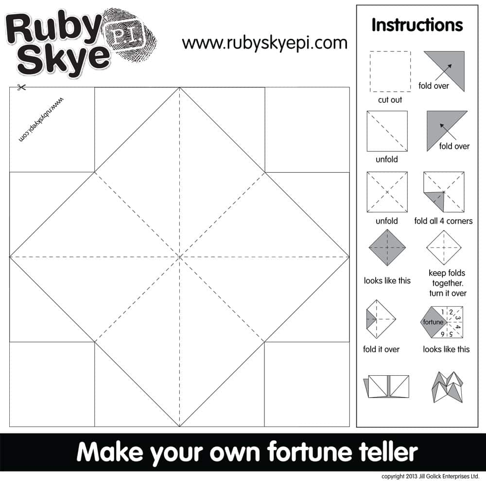 image relating to Printable Cootie Catcher Template referred to as Ruby Skye P.I. Cootie Catcher Printables Enjoy CBC Dad and mom