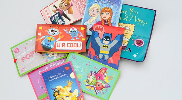 A pile of colourful Valentine's Day cards