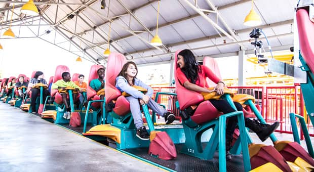 Show participants on a roller coaster.